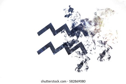 Zodiac sign - Aquarius. Dust of the universe, minimalistic art. Elements of this image furnished by NASA