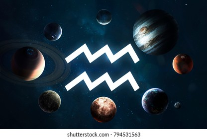 Zodiac sign - Aquarius. Middle of the Solar system. Elements of this image furnished by NASA