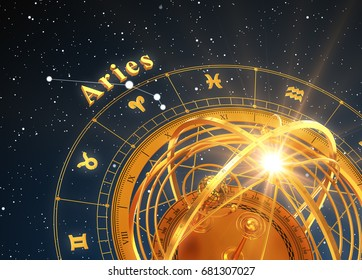 Zodiac Sign Aries And Armillary Sphere On Blue Background. 3D Illustration.