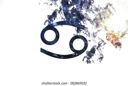 Zodiac sign - Cancer. Dust of the universe, minimalistic art. Elements of this image furnished by NASA