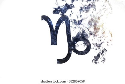 Zodiac sign - Capricorn. Dust of the universe, minimalistic art. Elements of this image furnished by NASA