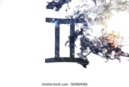 Zodiac sign - Gemini. Dust of the universe, minimalistic art. Elements of this image furnished by NASA