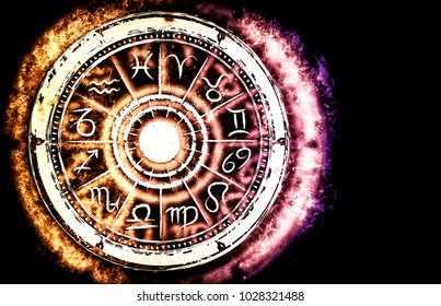 Zodiac sign horoscope cirlce on dark background. Creative background. Astronomy Symbol concept