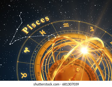 Zodiac Sign Pisces And Armillary Sphere On Blue Background. 3D Illustration.