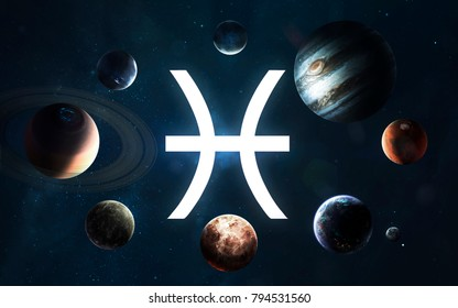 Zodiac sign - Pisces. Middle of the Solar system. Elements of this image furnished by NASA