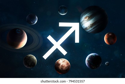 Zodiac sign - Sagittarius. Middle of the Solar system. Elements of this image furnished by NASA