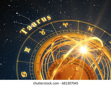 Zodiac Sign Taurus And Armillary Sphere On Blue Background. 3D Illustration.
