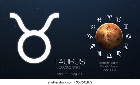 Zodiac sign - Taurus. Cool astrologic infographics. Elements of this image furnished by NASA