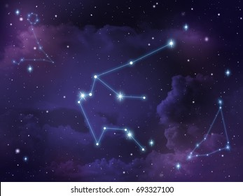 Zodiac star,Aquarius constellation, on night sky with cloud and stars