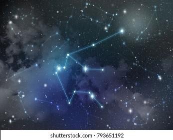 Zodiac star,Aquarius constellation, on night sky with cloud and stars