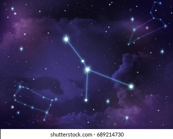 Zodiac star,Cancer constellation, on night sky with cloud and stars