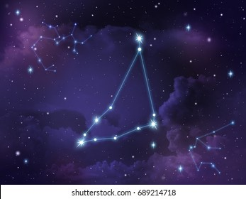 Zodiac star,Capricorn constellation, on night sky with cloud and stars