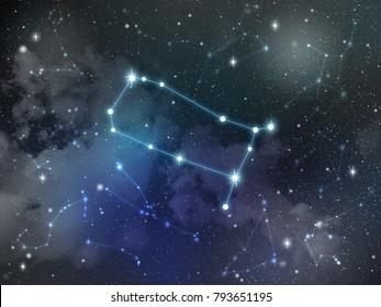 Zodiac star,Gemini constellation, on night sky with cloud and stars