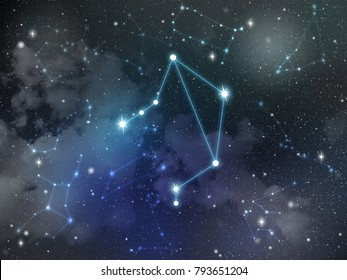 Zodiac star,Libra constellation, on night sky with cloud and stars