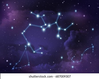 Zodiac star,Sagittarius constellation, on night sky with cloud and stars