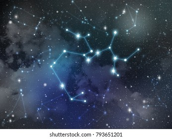 Zodiac star,Sagittarius constellation, on night sky with cloud and stars