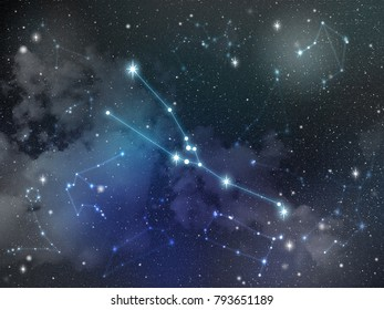 Zodiac star,Taurus constellation, on night sky with cloud and stars