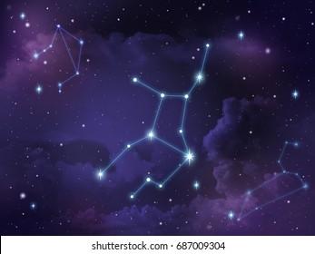 Zodiac star,Virgo constellation, on night sky with cloud and stars