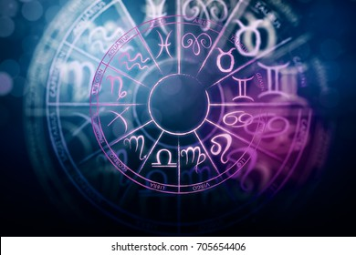 Zodial Sign Horoscope Cirlce On Dark Background Creative Symbol Concept 3D Rendering