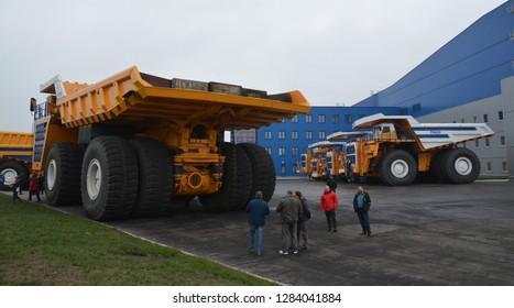 Zodzina, Belarus - November 2, 2015: Haul truck Belaz 75710 by belarusian manufacturer in Zodzina, Belarus.