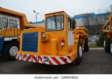 Zodzina, Belarus - November 2, 2015: Yellow colored trucks by belarusian manufacturer Belaz in Zodzina, Belarus.