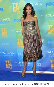 Zoe Saldana arrives at the 2011 Teen Choice Awards at the Gibson Amphitheatre, Universal Studios, Hollywood. August 7, 2011  Los Angeles, CA Picture: Paul Smith / Featureflash