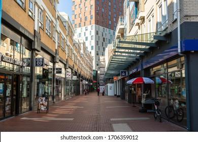 Zoetermeer, Dorp en Stadshart/Netherlands - April 15 2020: Streetview during the Corona crisis in The Netherlands