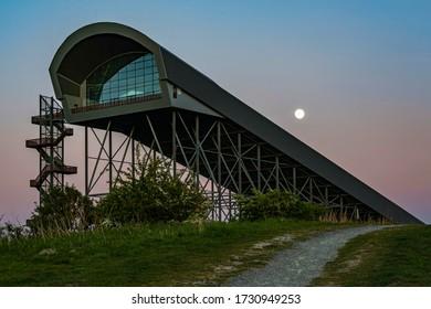 Zoetermeer / Netherlands - 06-05-2020: The Super Moon above the extended ski slope of Snowworld in Zoetermeer