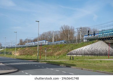 Zoetermeer, the Netherlands, April 2021. Van Tuyllpark is a RandstadRail express tram stop in Zoetermeer near Prismalaan West.
