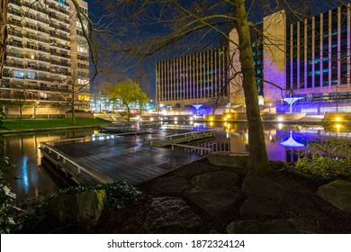 Zoetermeer, the Netherlands shopping district and city park at night