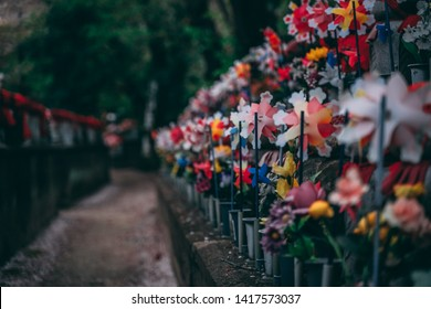 Zojoji Temple is the main shrine of the Jodo-shu sect of Buddhism. This unborn children garden is filled with stone Jizo statues representing unborn children lost to miscarriages, abortions, stillborn