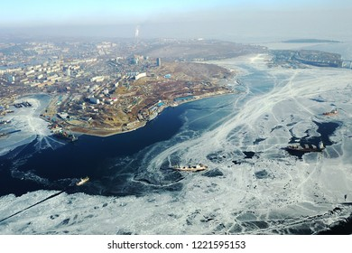 Zolotoy Rog (Golden Horn)  bay in  Vladivostok, Russia.  Top view