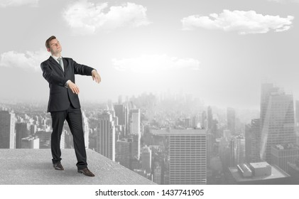Zombi elegant businessman on the top of the city