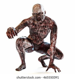 Zombie bloodthirsty undead posing on a white isolated background. 3d rendering