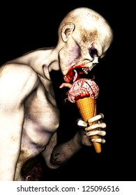 Zombie Brain Cream Cone - An angry undead zombie licking a Brain Cream Cone with brains, worms, a finger and blood on an ice cream cone. Isolated on a black background.