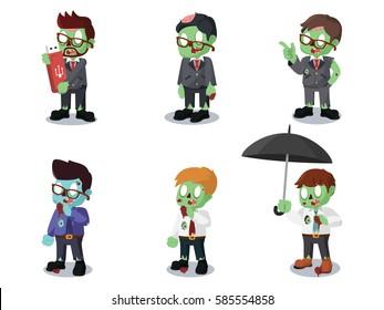 zombie businessman cartoon set