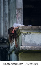 Zombie Ghost woman murder underhung head on abandoned building with bloody ,halloween concept