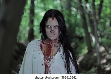 Zombie Girl White Nightgown Forest Stock Photo (Edit Now) 382613635 ... 5e71acda1