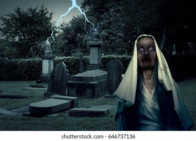 Zombie Graveyard Ghost With Lightening