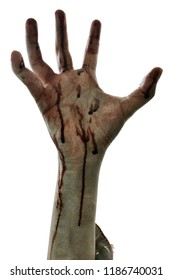 Zombie hand isolated on white background