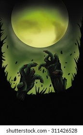 Zombie hands appearing from earth, full moon in the background, Halloween concept, copy space