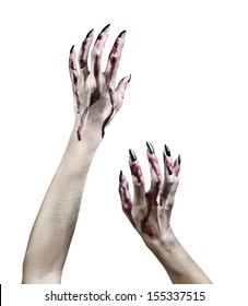Zombie hands in the blood on white background.