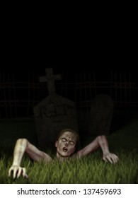 Zombie Rising - A female zombie climbs up through the dirt and grass out of the grave. Sky is solid black.