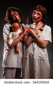 Zombie woman nurse with blood on face. Scary medical story. Evil hospital