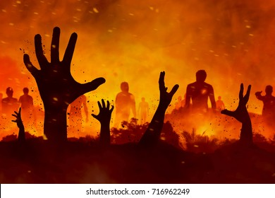 Zombies hand silhouette