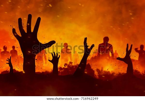 Зомби силуэт руки