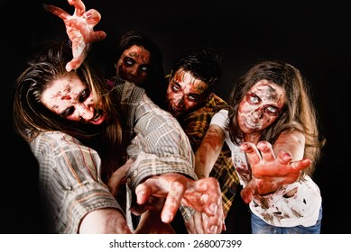 zombies isolated in dark background