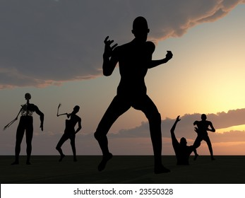 Zombies with a sky background