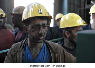 ZONGULDAK- JUNE  23 : Unidentified  mine workers  in Turkey on June 23, 2010 in Zonguldak,Turkey.