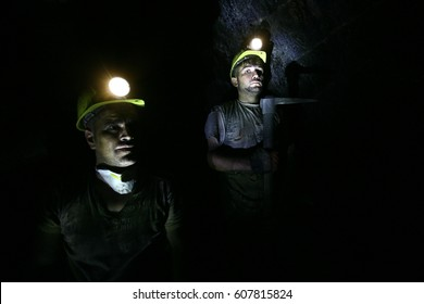 ZONGULDAK, TURKEY - JULY, 9, 2009: Two miners in the mine